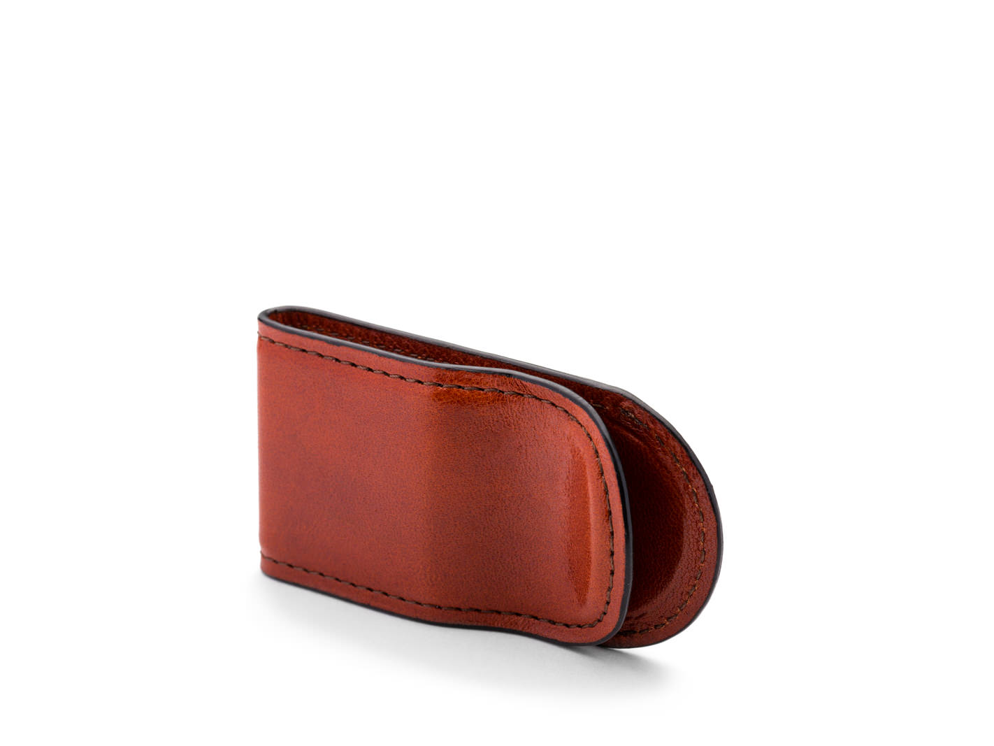 Leather Covered Money Clip -32 Cognac - 32 Cognac