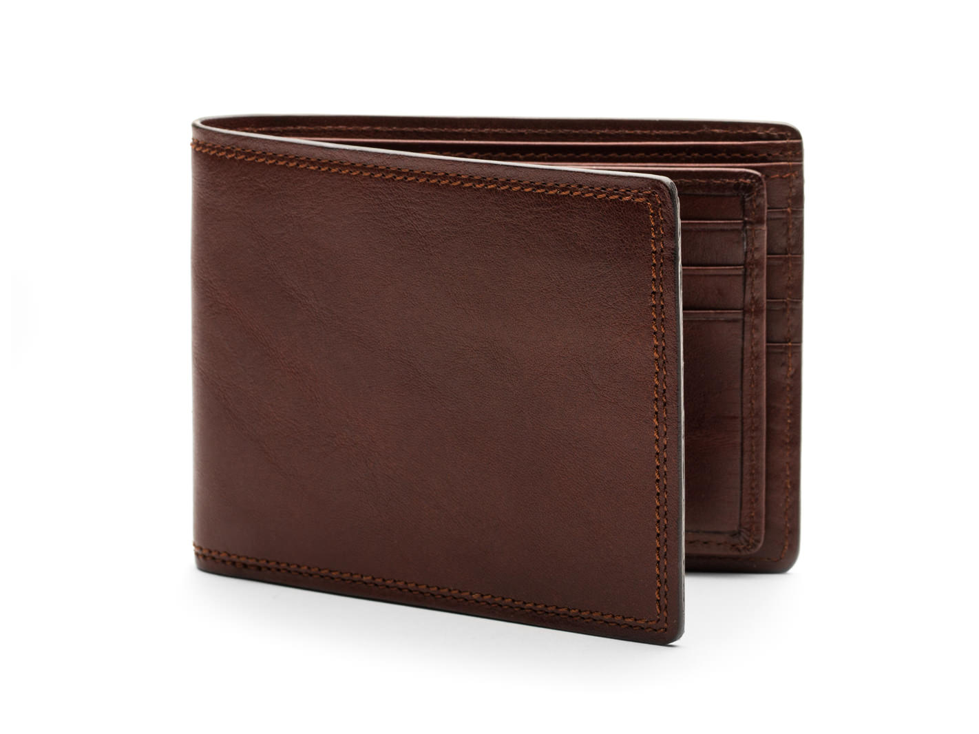 Euro 8 Pocket Deluxe Executive Wallet w/ Passcase-218 Dark Brown - 218 Dark Brown