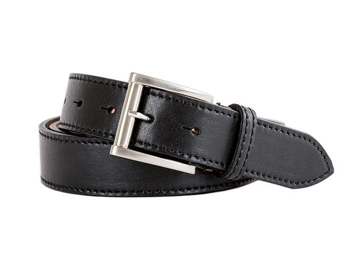 Old Leather Washed Stitched Belt-659 Black-34 - 659 Black