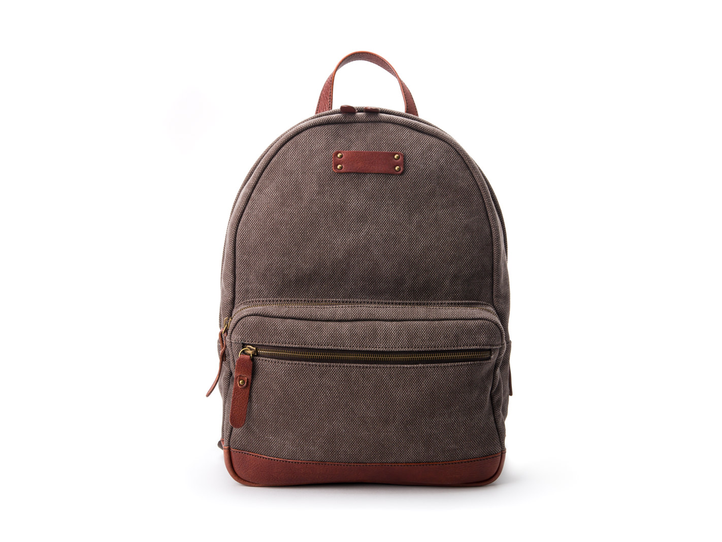 Fabric & Washed Leather Backpack-858 Gray & Brown - 309