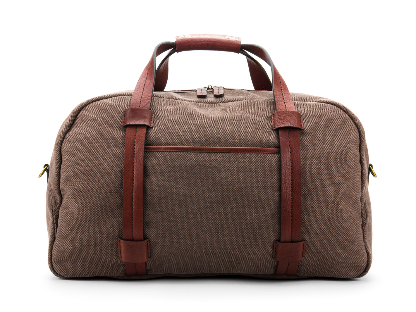 Fabric & Washed Leather Duffle-358 Grey & Brown - 358 Grey & Brown