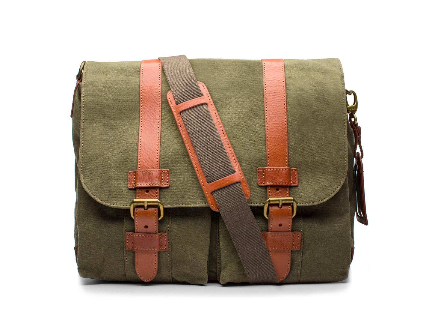 2 Pocket Mail Bag-394 Chestnut / Olive - 394 Chestnut / Olive