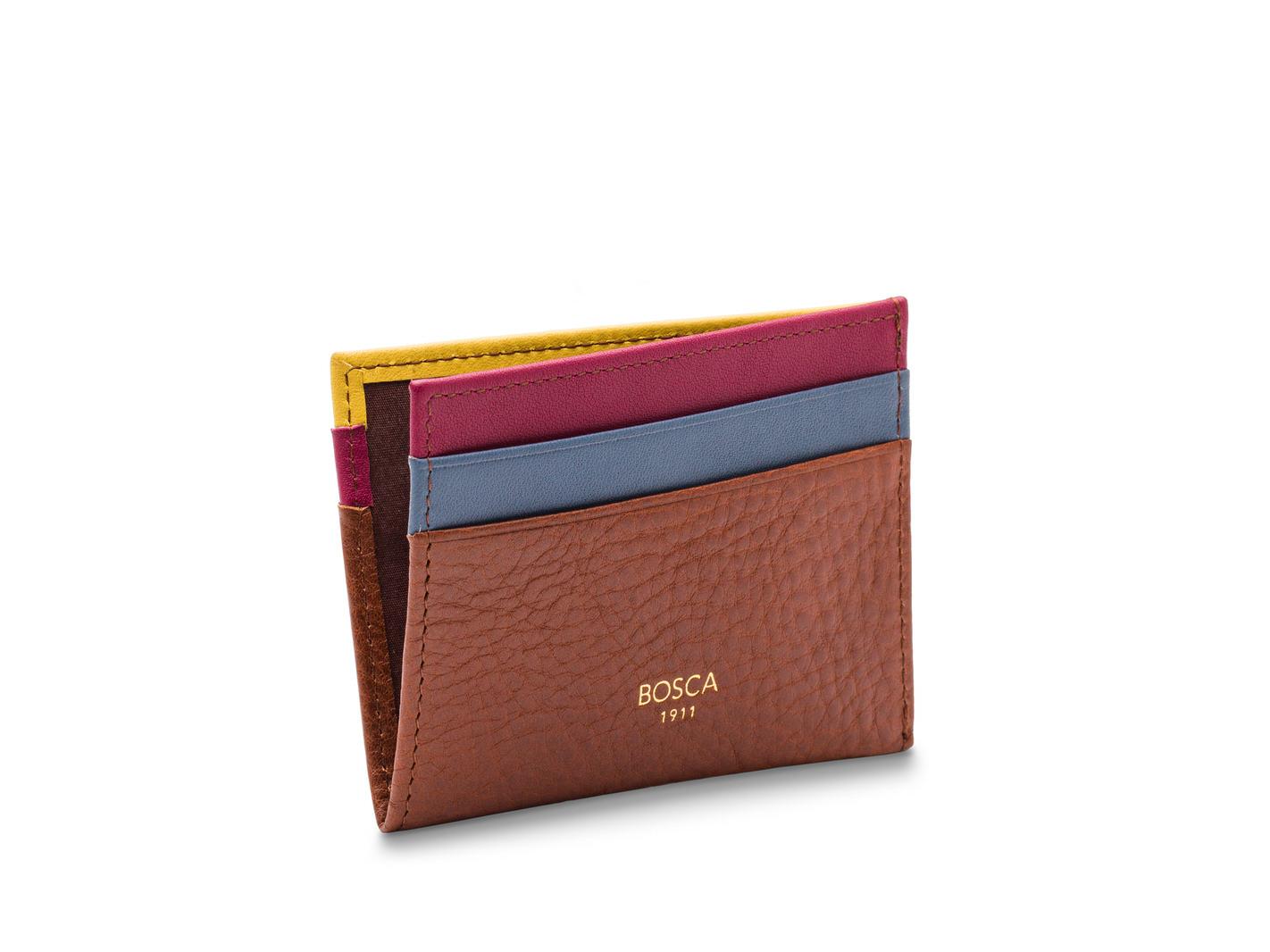 Weekend Wallet-278 Chestnut w/Blue, Raspberry, Yellow - 278 Chestnut w/Blue, Raspberry, Yellow
