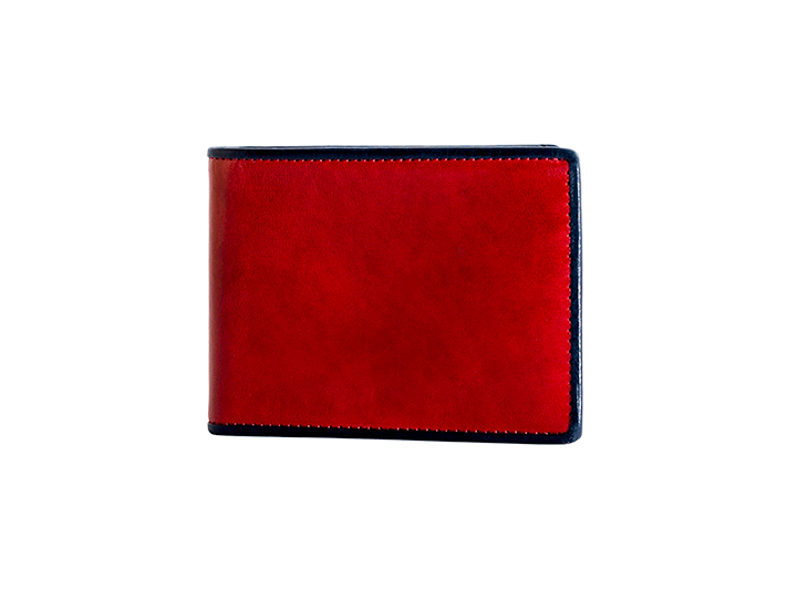 Small Bifold Wallet-143 Red/Navy