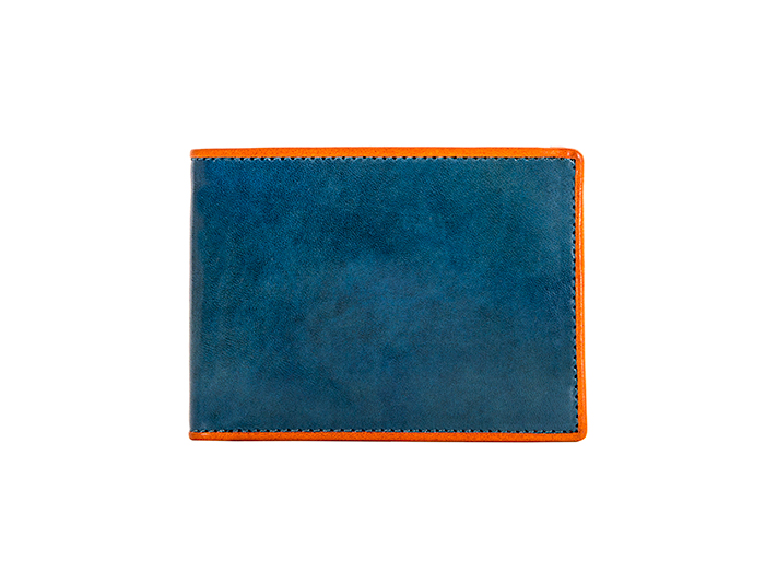 Small Bifold Wallet-145 Turquoise/Orange