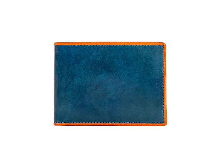 Small Bifold Wallet-145 Turquoise/Orange
