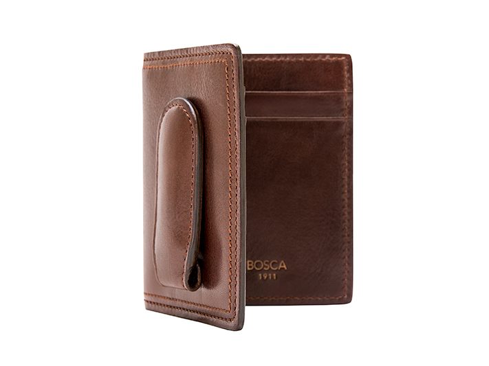 Front Pocket Wallet w/Magnetic Clip-218 Dark Brown - 218 Dark Brown