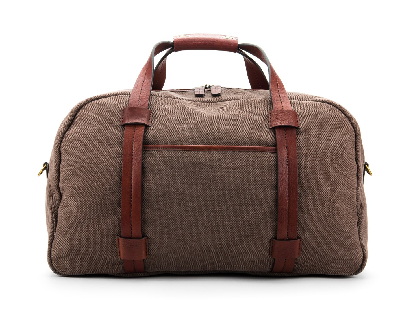 Fabric & Washed Leather Duffle Bag