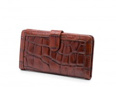 Bosca Crocco Slim Credit Case 2030-215 215 Dark Auburn