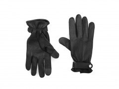 Bosca Deerskin Glove w/ Button Strap 5623-960 960 Black
