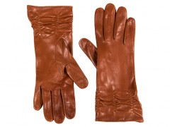 Long Lambskin Glove w/ Pleat-968 Cognac-Small