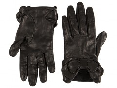 Short Lambskin Glove w/ Bow-59 Black-Small