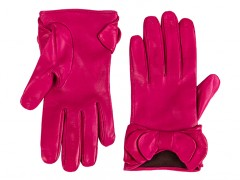 Short Lambskin Glove w/ Bow -352 Fuchsia-Small