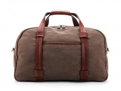 Bosca Fabric & Washed Leather Duffle Bag 6005-358 358 Grey & Brown