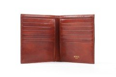 Bosca 12 Pocket Credit Wallet 607-32 32 Cognac 12 Pocket Credit Wallet - Cognac - Open View