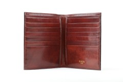 Bosca 12 Pocket Credit Wallet 607-58 58 Dark Brown 12 Pocket Credit Wallet - Dark Brown - Open View