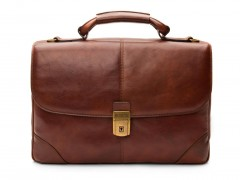 Bosca Flapover Briefcase 813-218 218 Dark Brown