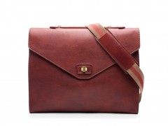 Bosca Small Flapover Brief Bag 8272-158 8272 Beige & Red Strap